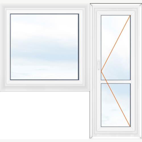 балконный блок с глухим окном и поворотной створкой