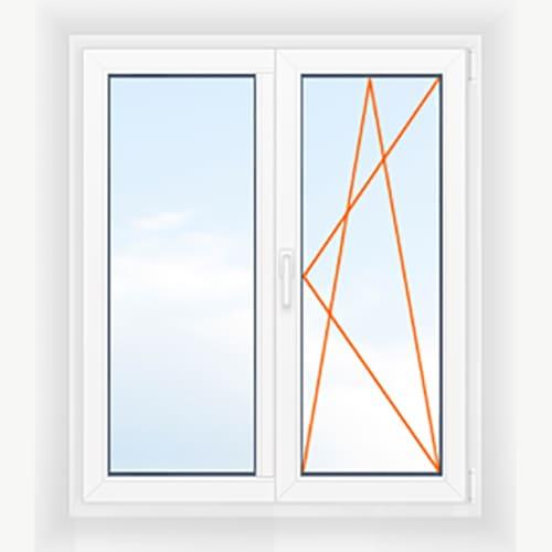 Двухстворчатое окно глухое + поворотно-откидное