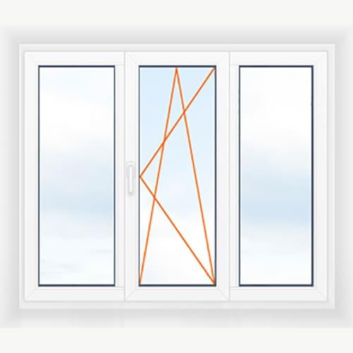 Трехстворчатое окно глухие +поворотно-откидная