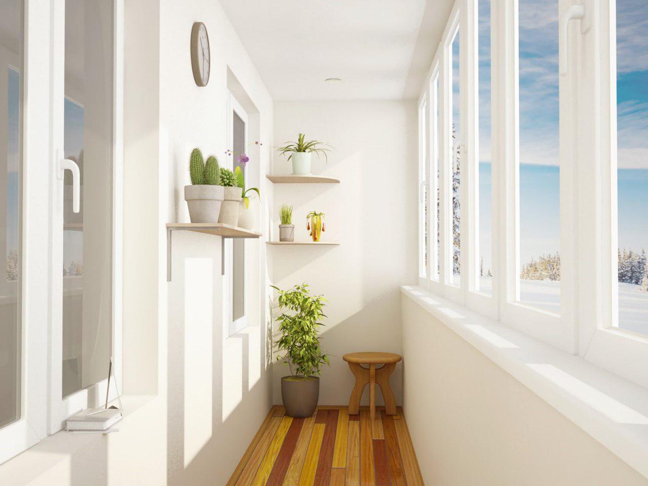 остекленный балкон с отделкой